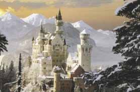 Beautiful Neuschwanstein Fantasy Castle.  See actual moving Lake and Snowstorm around the Medieval Castle and Knight in Chainmail.  Information, books, DVD's and more on Neuschwanstein Castle and others.